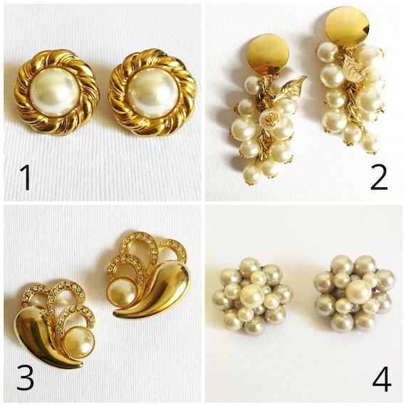 Vintage Jewelry Clip On Gold Earring Enamel Earrings Clips Womens Fashion Jewelry Boho Chic Bohemian Gift for Mother Grandma Her #60434-4SC