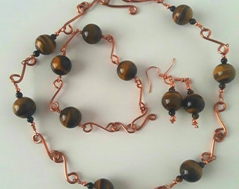 Tigerseye copper wire wrapped necklace bracelet earrings gemstone jewelry set