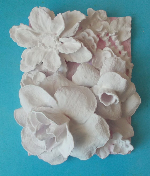 amazing 3d Flower Wall Decor Part - 11: Small panels gypsum 3d flower wall art sculptural painting | Etsy