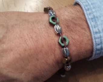 Men's Turquoise and Brass Colored Hex Nut Bracelet