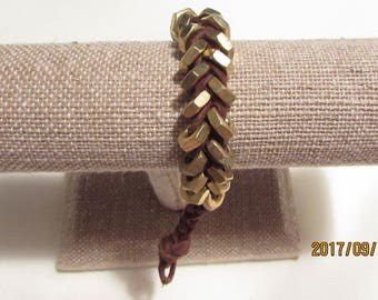 Men's Brass Hex Nut Bracelet