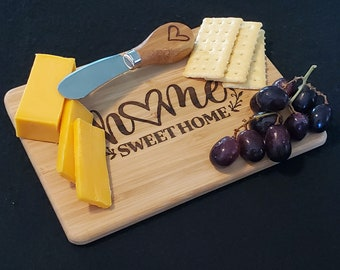 Bamboo Cheese Board / Knife set, Laser Engraved Cutting Board, Home Sweet Home