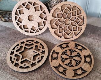 Laser Cut Wood Coaster Set, Coaster Set with Stand, Sacred Geometry Designed Coaster Set, Mandala Design Coaster Set, Home Decor,