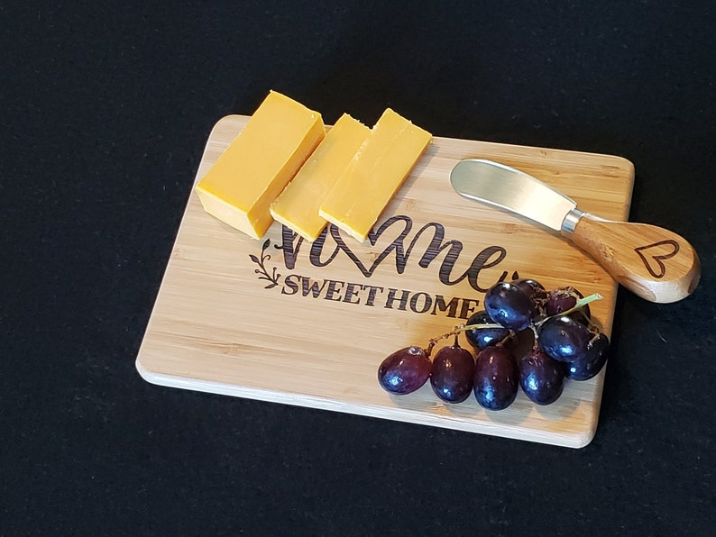 Bamboo Cheese Board / Knife set Laser Engraved Cutting Board image 0