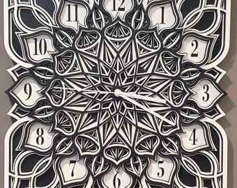 """16"""" Square Sacred Geometry Clock, Mandala Design Clock, Laser Cut Wood Clock, Wooden Clock, Wall Clock, multi-layered clock"""