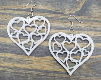 Heart Earrings, Laser Cut Acrylic, Laser Cut Wood Earrings, Lightweight Earrings