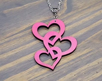Triple Heart Necklace, Laser Cut Wood Heart Necklace, Heart Jewelry, Red Heart Necklace, Pink Heart Necklace