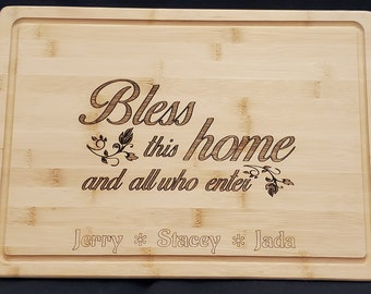"""Personalized """"Bless This Home"""" Bamboo Cutting Board, Realtor closing gift, Large Cutting Board, Kitchen Decor"""