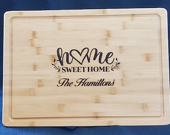 """Personalized """"Home Sweet Home"""" Bamboo Cutting Boards, Realtor closing gift, Large Cutting Board, Kitchen Decor"""
