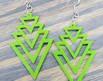 Geometric Colored Earrings, Laser Cut Geometric Acrylic Earrings,  Laser Wood Earrings, Art Deco Earrings, Geometric Bright Color Earrings