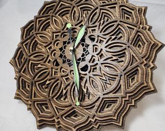 """11"""" Sacred Geometry Clock, Mandala Design Clock, LaserCut Wood Clock, Wooden Clock, Wall Clock"""