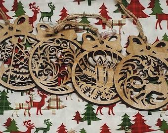 Set of Christmas Ornaments, Wood Christmas Ornaments, Holiday Ornaments, Holiday Set of Ornaments