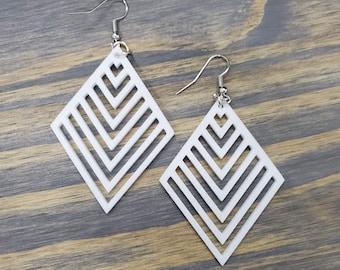 Geometric  Shaped Earrings, Natural Wood, Laser Cut,Red Earrings, Black Earrings, White Earrings,Modern Earrings, Stylish Design