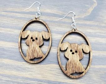 Puppy Dog Earrings, Puppy Dog Lightweight Earrings, Dog Earrings, Puppy Earrings Laser Cut