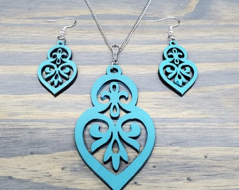 Teal Vintage Style Earring and Necklace Set, Teal Earrings, Small Earrings,Teal Necklace, Turquoise Jewelry Set
