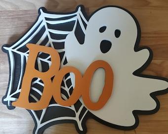 Halloween Layered Wall Art, Ghost Layered Wood Art, Boo Wording, Laser Cut, Halloween Decor, Halloween Wall Art, Ghost Wall Art