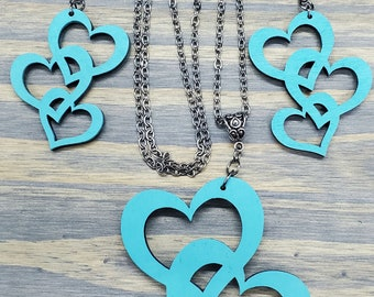 Triple Heart Earring and Necklace Set, Laser Cut Heart Jewelry Set, Heart Earrings, Heart Necklace