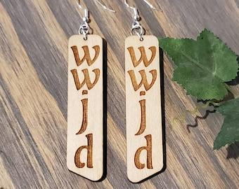 WWJD Earrings, WWJD Laser Cut Earrings, WWJD Wood Earrings