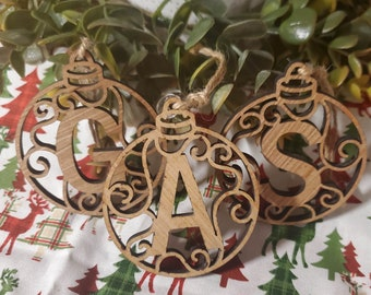 Initial Holiday Ornaments, Initial Ornament, Initial Christmas Ornaments
