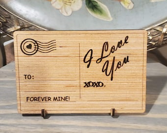 Wooden Post Card, Permanent Post Card Kit, Personalized Post Card Kit, Love Messages, Laser Engraved Post Card, World's Best Mom