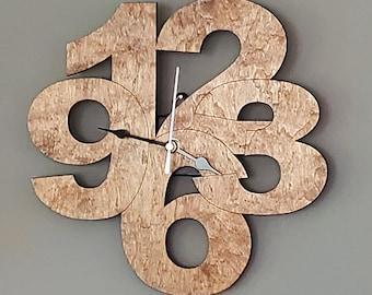 Number Clock, Modern Clock, All Purpose Clock, Wood Clock, Simple Clock, Single Layer Clock