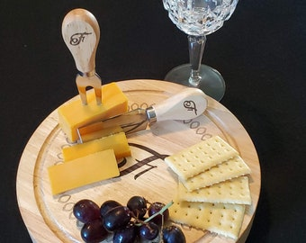 Personalized Cheese Board & Utensil Set/Laser Engraved, Wedding Gift, Birthday Gift, Realtor Closing Gift