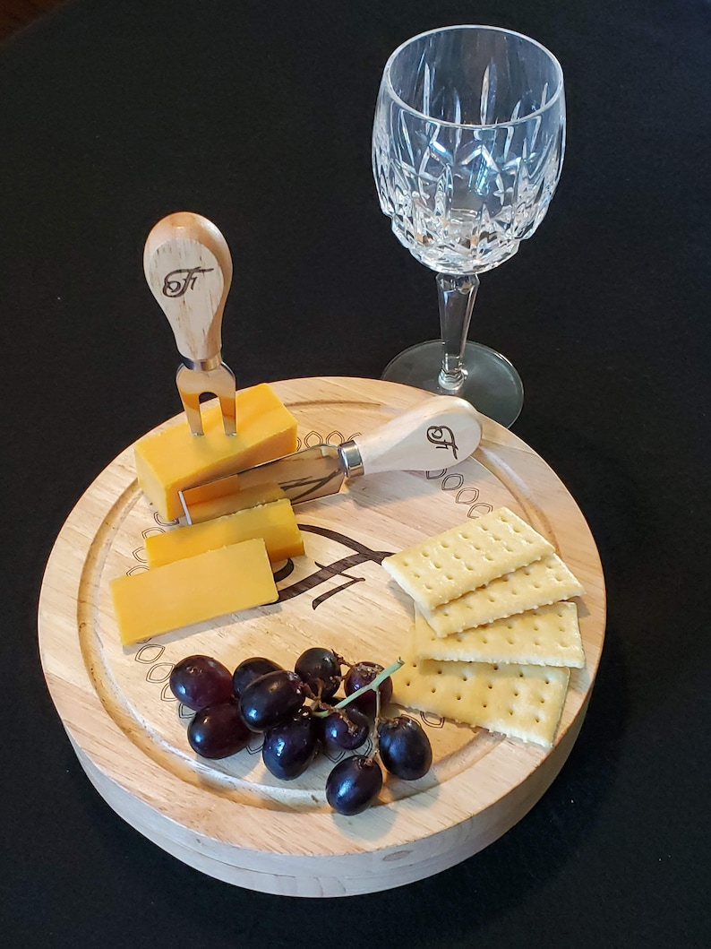 Personalized Cheese Board & Utensil Set/Laser Engraved image 0