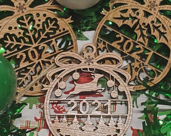 2021 Christmas Ornaments, Snowflake Design Ornament, Bell Design Ornament, Christmas Scene Ornament, Wooden Christmas Ornaments