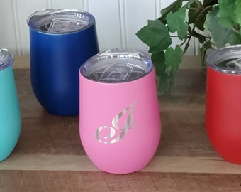 Laser Engraved Wine Tumblers, Personalized Wine Tumblers, Colorful Wine Tumblers, 12 oz. Wine Tumbler, Small tumbler