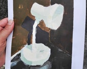 """Painted by the real """"White Table Lamp"""" tempera on paper, 21 x 29 cm."""
