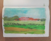 """Painting summer landscape """"Romagna countryside, Italy"""" on paper, 15 x 21 cm."""
