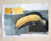 """Painted """"Banana"""" tempera, pencil marks and collage on paper on paper, 21 x 29 cm."""