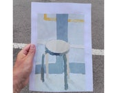 """Painted by the real, Ikea """"Frosta"""" stool in birch."""