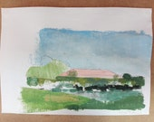 """Painting summer landscape """"Romagna countryside, Italy"""" on paper, 21 x 29 cm."""