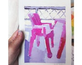 """Painted """"Red chair"""" tempera on paper, 18 x 28 cm."""