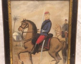 Old military, jumper, Orientalism, watercolor, gouache Portrait?