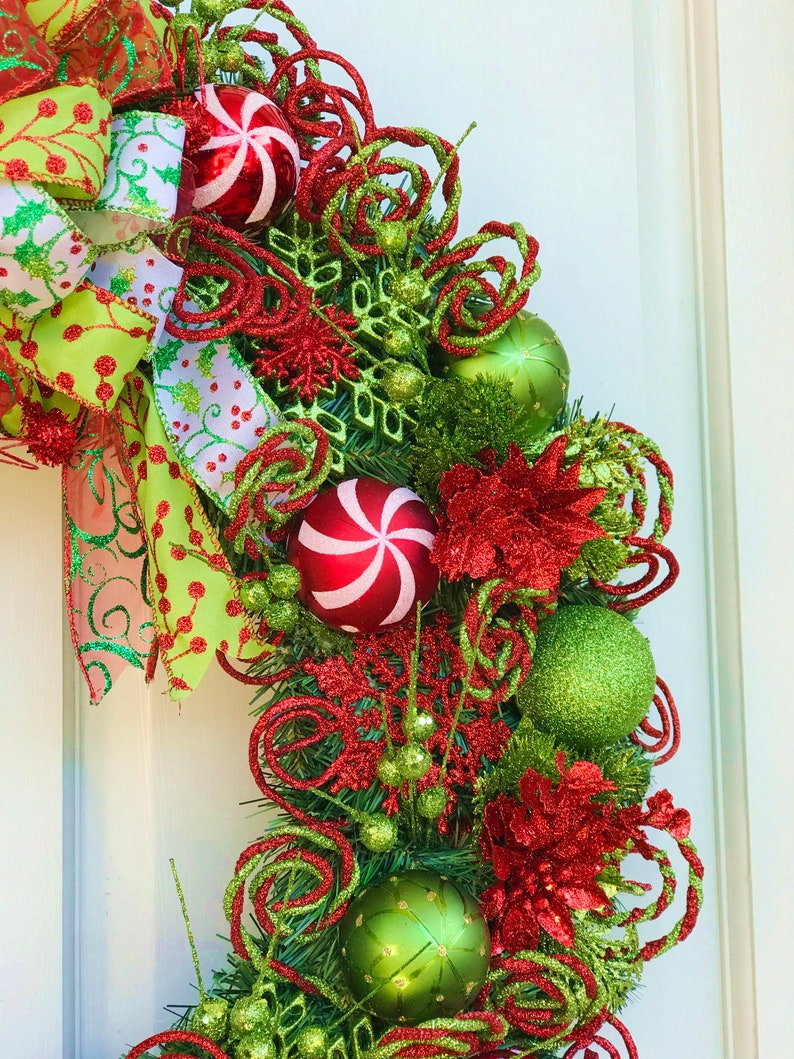 One-of-a-kind Lime Green and Red Hand-made Christmas Wreath