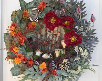 Whimsical Hand-made Door Wreath with Hedge Hogs