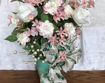 Large Spring Floral arrangement with teal ceramic vase