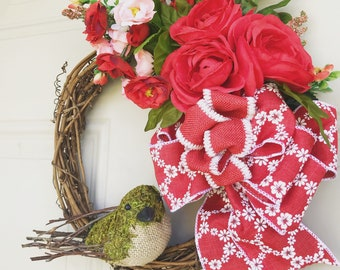 Red and Peach Flower Wreath with Bird