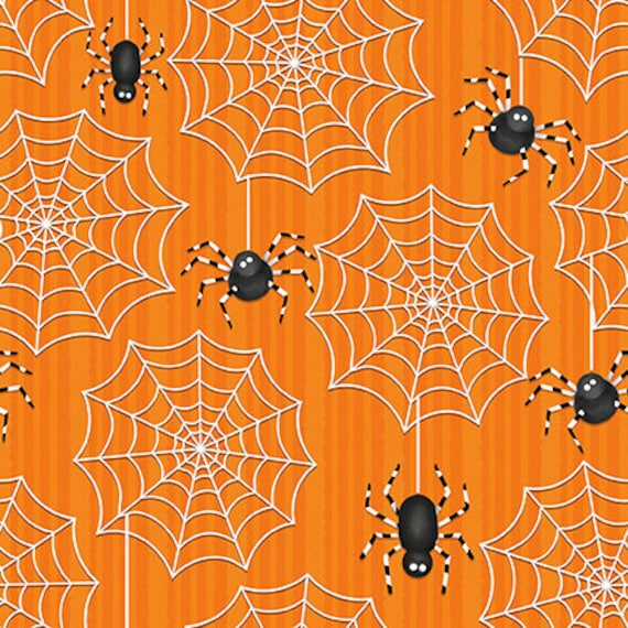 Fat Quarter Ghostly Glow Town Spiders Web Cotton Quilting Fabric Halloween