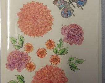 Hand made Flowers and butterfly card (Blank)