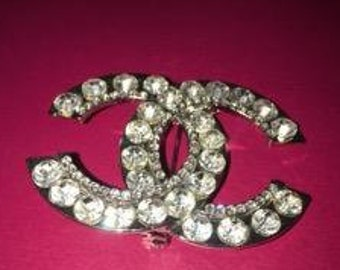 f2e86ffd3ee CC Brooch Embellished with Large and Small Rhinestones - Available in  Silver - CC Brooch