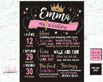 First birthday chalkboard, princess 1st birthday, chalkboard sign, personalized chalkboard girl, bday board, 1st 2nd, 1st birthday chalk