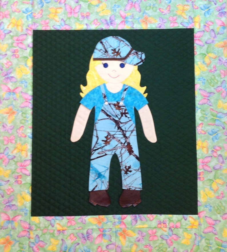 Blue Camouflage Paper Doll Quilt Overalls Outfit Blue camouflage overalls shaded blue shirt matching cap and brown boots.