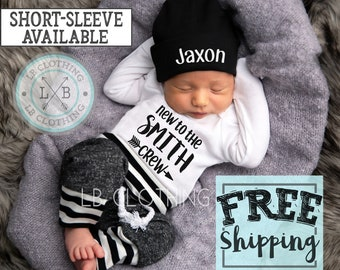1799b68c59ac PERSONALIZED NEWBORN BOY Coming Home Outfit /baby boy hat/baby shower gift/newborn  outfit /new mom/expecting mom gift/ baby boy