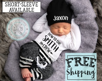 PERSONALIZED Boys Newborn Sleeper Gown and Hat  Baby Outfit with Beanie Cap