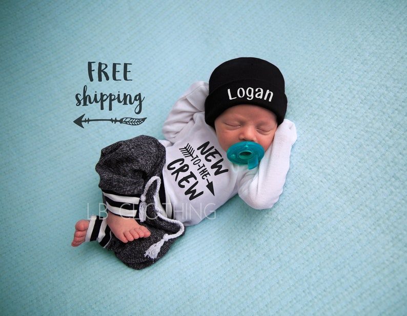 7c5db38cb3c53 Newborn Boy Coming Home Outfit Baby Boy Take Home Outfit Newborn Outfit  Newborn Baby Outfit New to the Crew Outfit Baby Boy