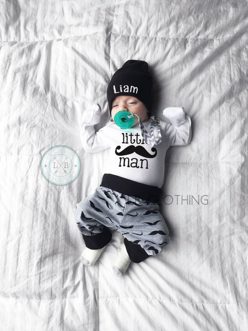 98c467758 Little man Coming Home Outfit Baby Boy mustache Outfit Newborn