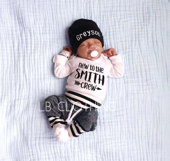 BABY BOY Coming Home Outfitbaby boypersonalizedbaby boy hatbaby shower giftbaby boy giftclothesnew momexpecting mom gifts